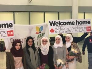 Syrian scholars Alaa, Raneem, Aya, Ayaat and Asmaa