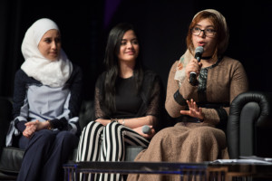 DFL Scholars Ayaat, Eman and Yousra - pannel discussion, Daughters for Life Gala Dinner 2017
