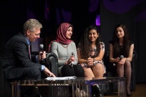 James Orbinski interviewing DFL Scholars Mayar, Darah and Eva during the Daughters for Life Foundation Gala Dinner 2017