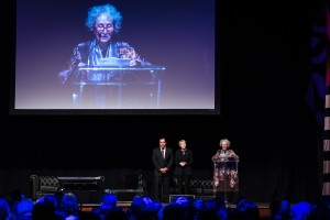 Margaret Atwood receiving her Lifetime Achievement Luminary Award, Izzeldin Abuelaish, Daughters for Life Foundation Gala Dinner 2017