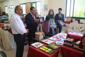 Dr. Abuelaish, Dalal and Eng Al Hashim at the IUG Artwork exhibition