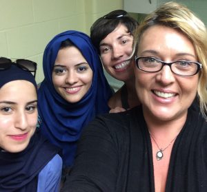 Eman with other DFL scholar Sarah, Nancy and Tina; College Boreal Staff