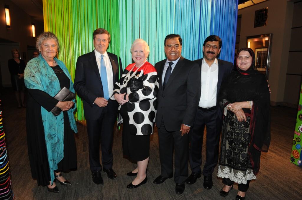 From left Maria Campbell, Mayor John Tory, The Honourable Elizabeth Dowdeswell, Dr Abuelaish, Ziauddin Yousafzai and Tor Pekai