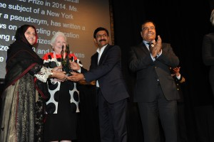 From left Tor Pekai, The Honourable Elizabeth Dowdeswell, Ziauddin Yousafzai and Dr Abuelaish,